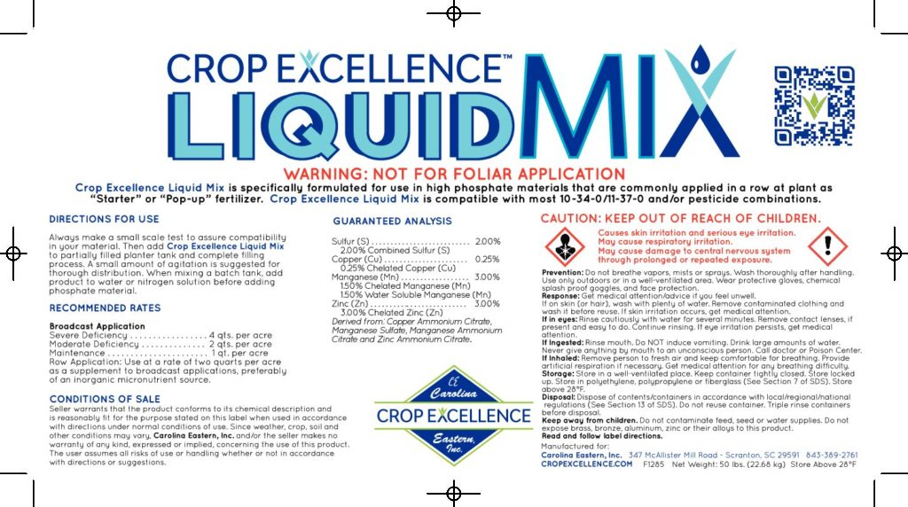"Crop Excellence® Liquid Mix | Specifically Formulated for use in High Phosphate Materials Commonly Applied in a row as a ""Starter"" fertilizer. Image"
