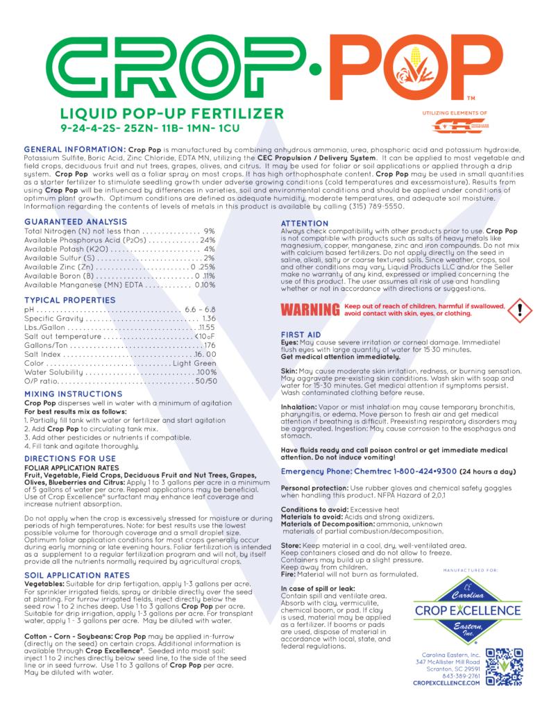 CROP POP™ 9-24-4 w/ Micro-Nutrients | Liquid Starter Fertilizer utilizing elements of the CEC™ Propulsion Delivery System Image