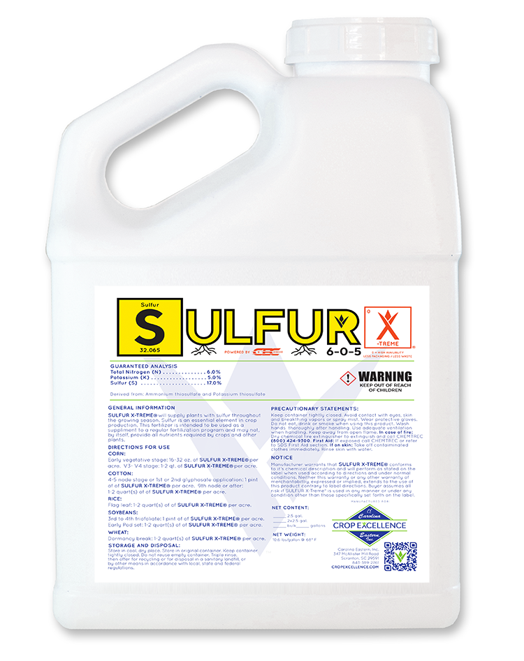 SULFUR X-TREME® | High Availability - Low Use - Low Rate - Sulfur Solution 6-0-5 Powered by CEC® Delivery System Image