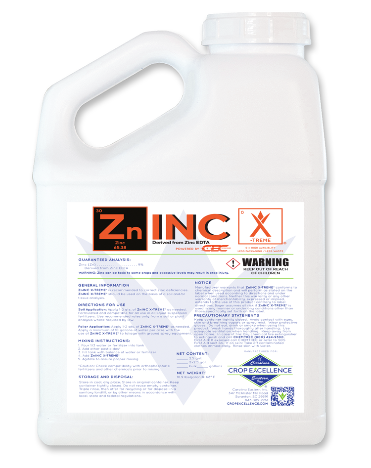 Zn Inc X-TREME® | High Availability - Low Use - Low Rate Zinc Derived from Zinc EDTA Powered by CEC Propulsion Delivery System Image